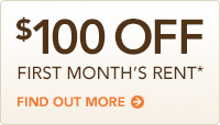 $100 Off first month's rent