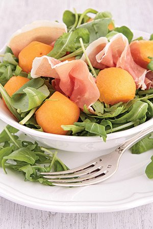 Melon, Prosciutto, Goat Cheese and Almond Salad From The Carlisle, CA