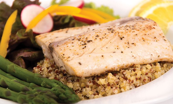 A Sunrise Recipe: Sautéed Striped Bass with Quinoa Tomato Salad & Minted Lemon Parsley Vinaigrette