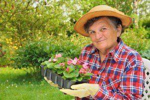 Woman holding plants