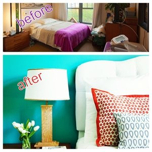 Fran Ferguson's suite before and after its renovation.