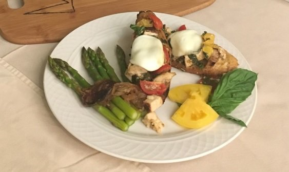 Chicken Bruschetta With Asparagus And Caramelized Onions