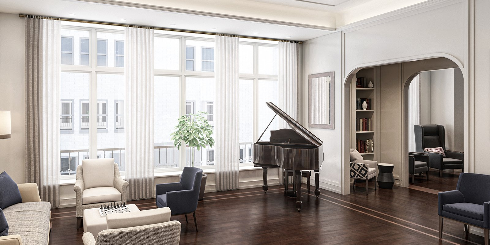 room with a piano, chairs, and a sofa