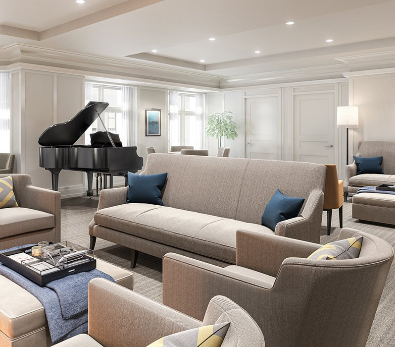 piano, sofa, and sofa chairs in a room