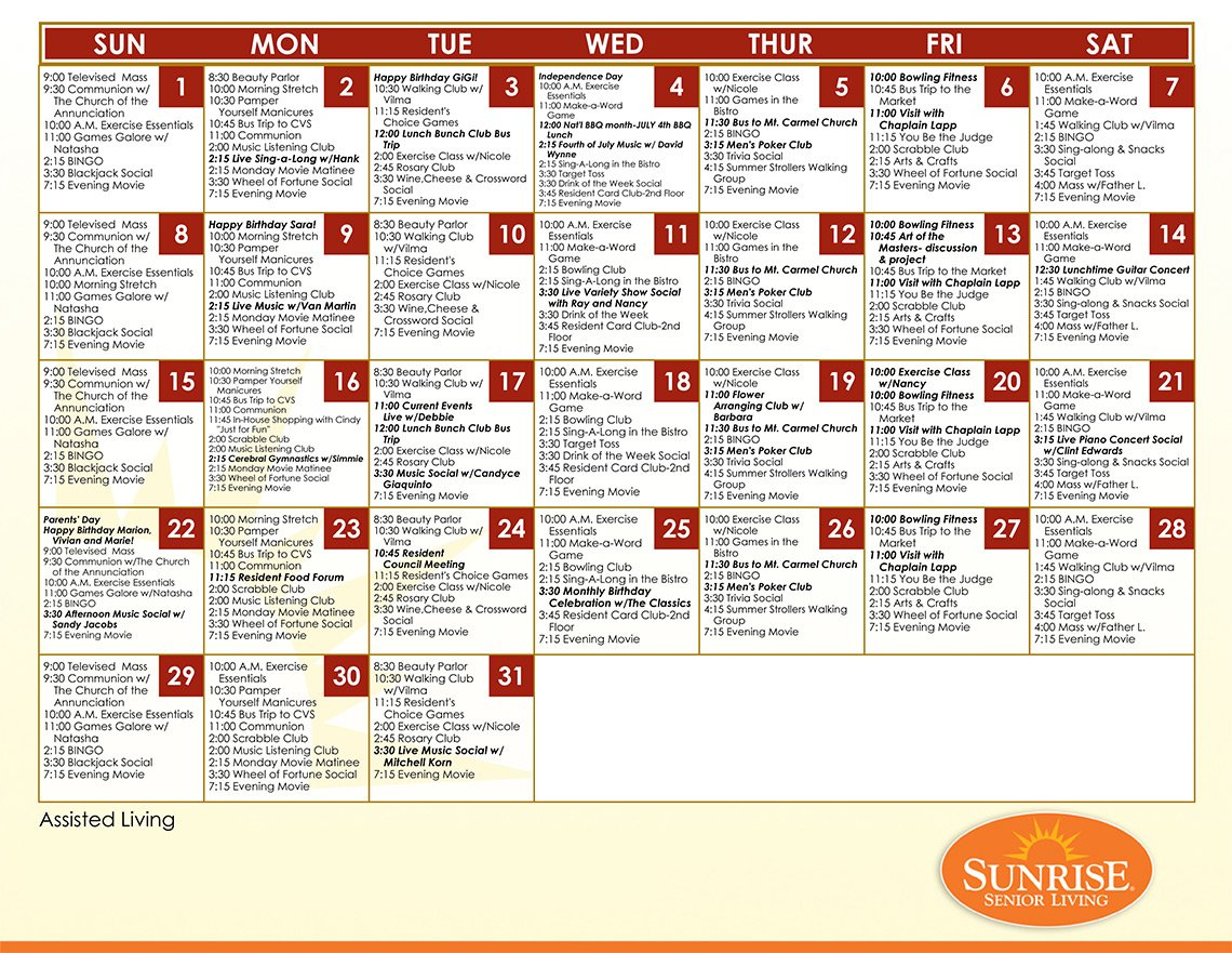 Programming & Activities | Sunrise Senior Living