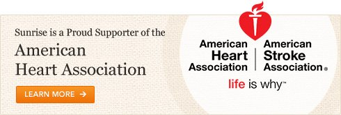 Sunrise is a Proud Supporter of the American Heart Association