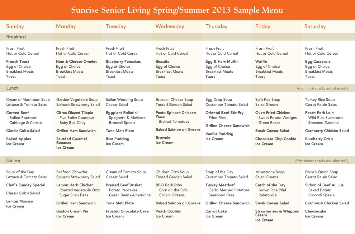 Spring Summer Dining Menu