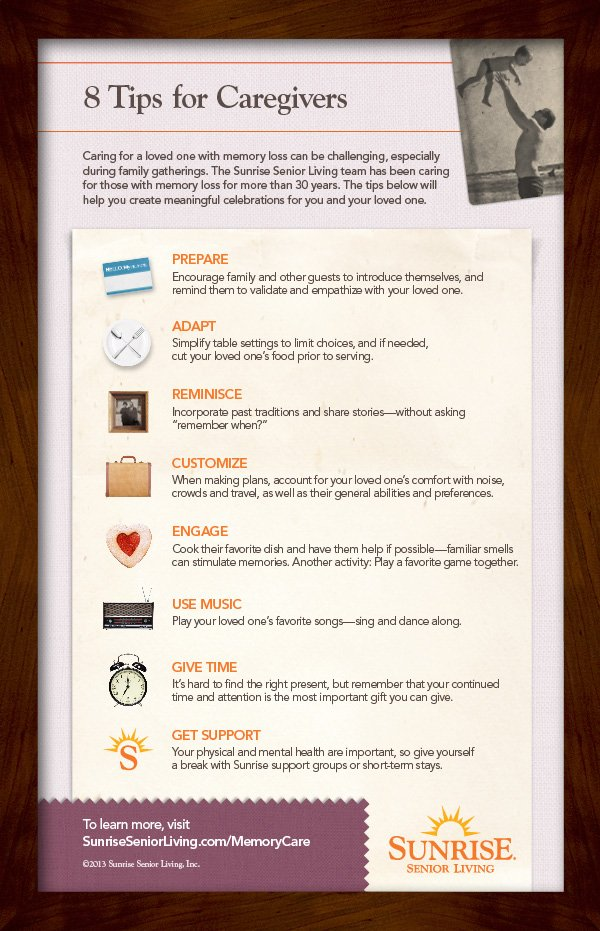 A Sunrise Infographic: 8 Tips for Caregivers