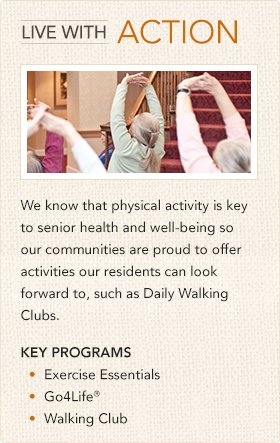Key Programs: Exercise Essentials, Go4Life, Walking Club