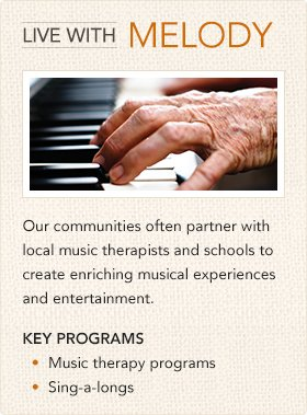 Key Programs: Music therapy programs, sing-alongs