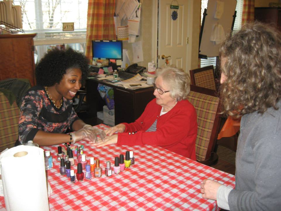 "Residents were treated to hand massages and manicures by local volunteers, called ""Polish Angels."" Sunrise of Edgewater, NJ, is grateful that these professional nail technicians chose our community for a day of pampering!"