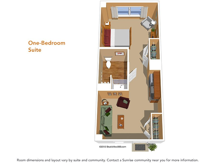 Floor plans suites studios sunrise senior living for One level living floor plans