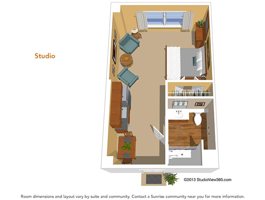 Floor plans suites studios sunrise senior living for Studio layout plan