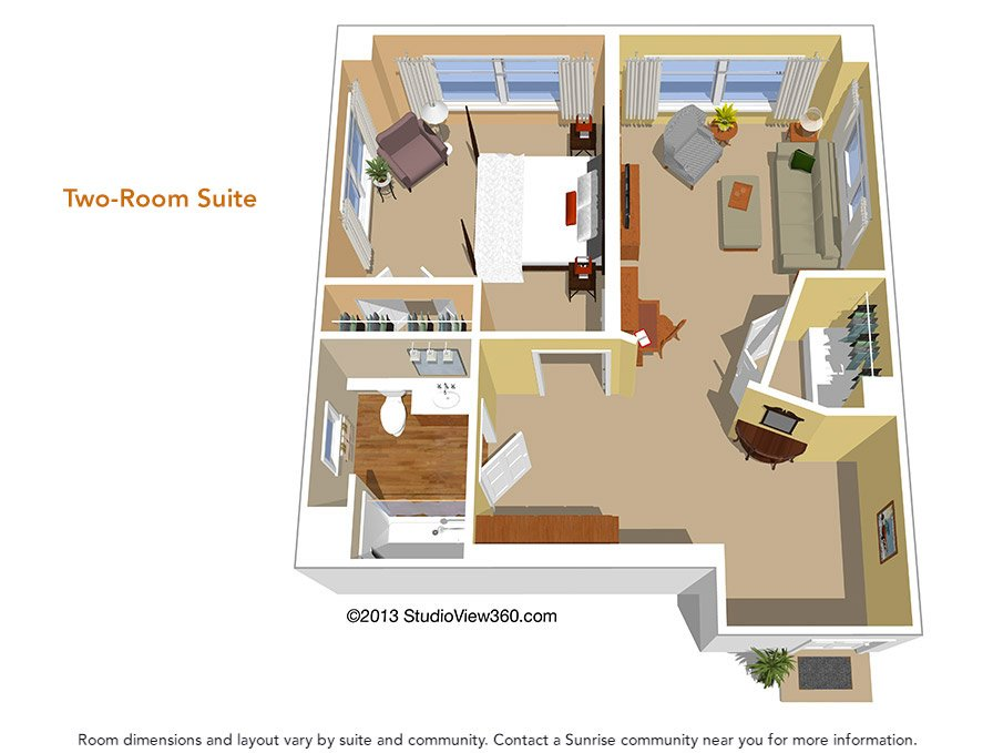 Floor plans suites studios sunrise senior living for House plans for senior living