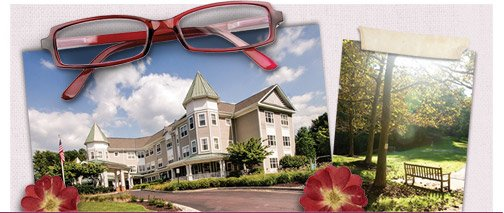 Collage, building front, park bench and eyeglasses
